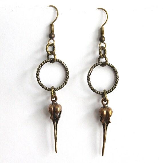 Hummingbird Skull Earrings - Primal Elegance Bronze Hummingbird Skull Earrings 027