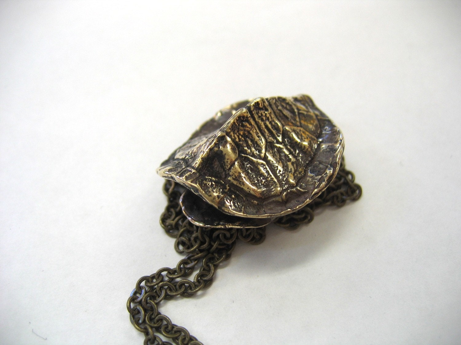 Moon raven designs three dimensional bronze turtle shell for Real tortoise shell jewelry