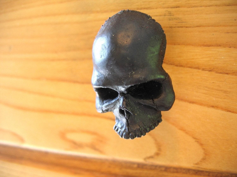 Black Human Skull Cabinet Knob Drawer Pull Hardware By Mrd74