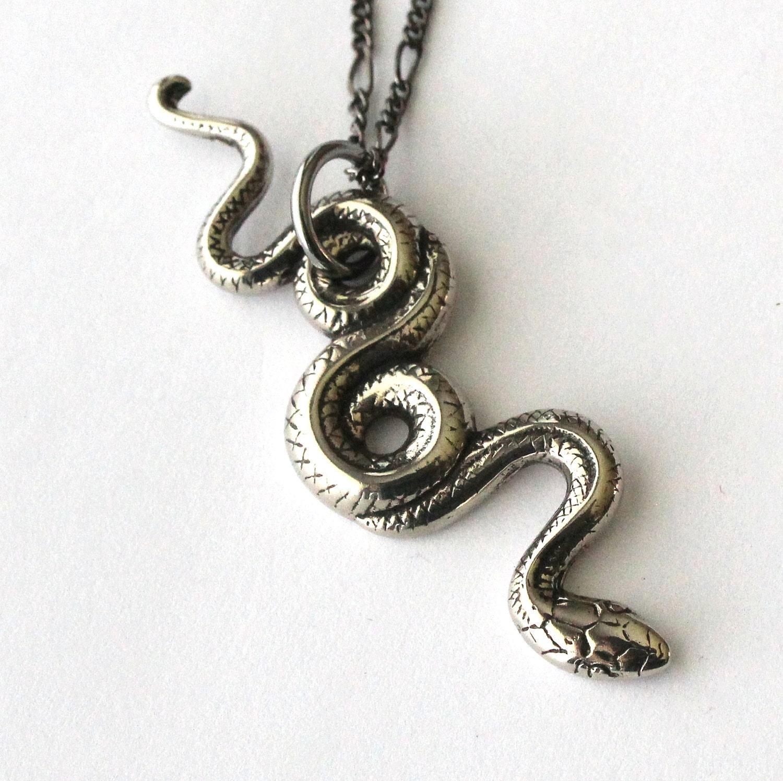 silver snake necklace silver garden snake pendant necklace