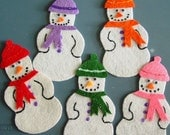 FIVE LITTLE SNOWMEN Children's Flannel Board Felt Set