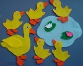 FIVE LITTLE DUCKS Childrens Flannel Board Felt Set