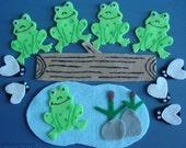 Five Green Speckled Frogs Children's Flannel Board Felt Set