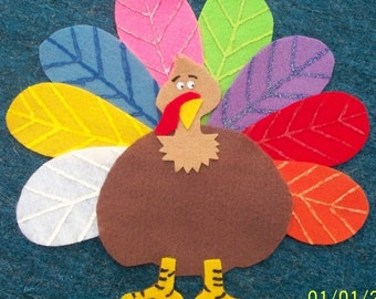 Tommy the Turkey Children's Flannel Board Felt Set