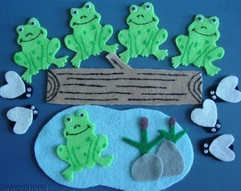 Five Green Speckled Frogs Children's Flannel Board Felt Set