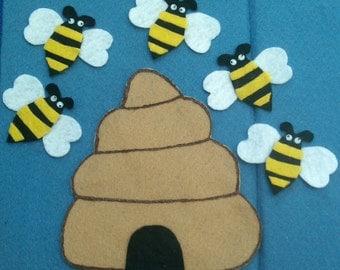 Five Little Bees Flannel Board Felt Board Story