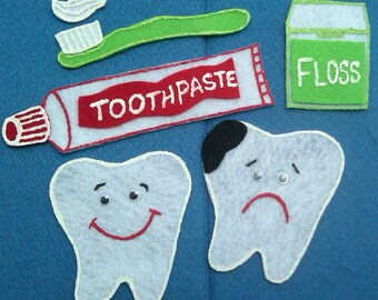 Tooth Brushing (Happy Tooth) Flannel Board Felt Board Story