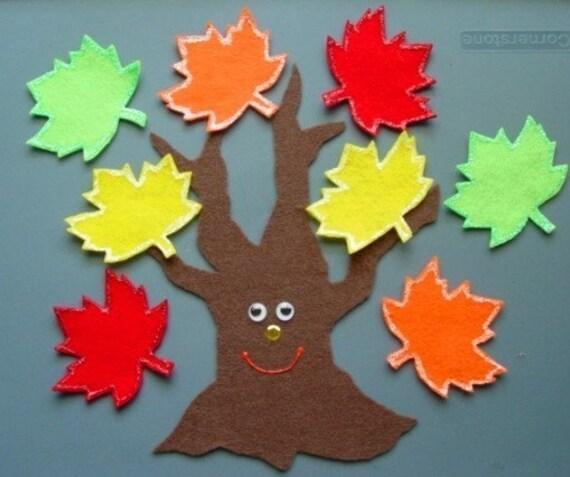 Fall Leaves / Apple Tree Children's Flannel Board Felt Set
