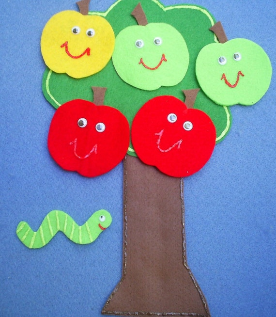 Five Little Apples Teasing Worm Flannel Board Felt Board Story