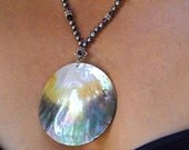 South Seas Mother of Pearl Pendant with Smoky Pearl and Amethyst Necklace