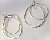 Extra Large Sterling Silver Hoop Earrings - Gypsy Chic and Rustic