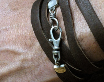 Mens Rustic Deerskin Leather Wrap Bracelet
