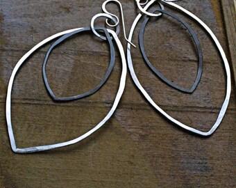 Rustic Hammered Silver Leaves Dangling Earrings