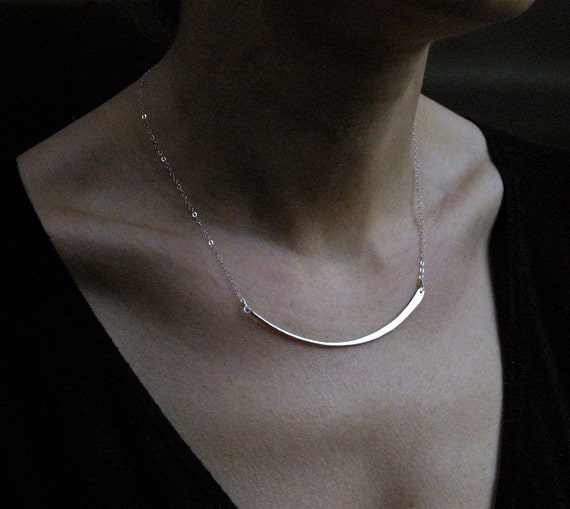 Elegant and Simple Handmade Fine Silver Crescent Necklace