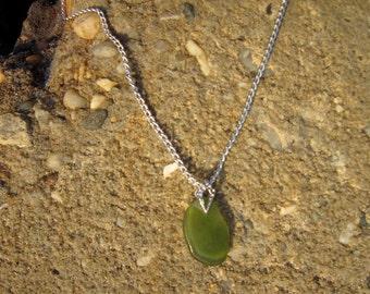 Wine Bottle Beach Glass Necklace