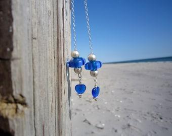 Blue Glass Chain Earrings