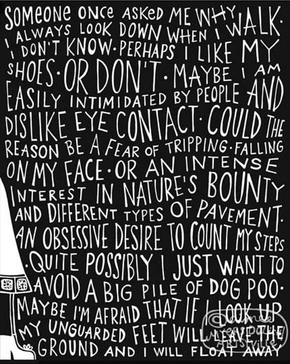 Looking Down (8x10 doodle print)