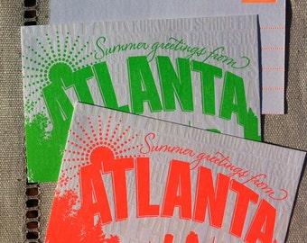 Atlanta Summertime Letterpress Postcard-- individual postcard - Fluorescent Red
