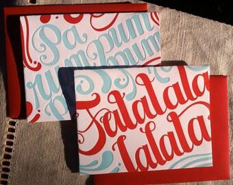 2 pack Variety Letterpress Holiday Cards (red and light blue) - Falalalala & Parumpumpumpum