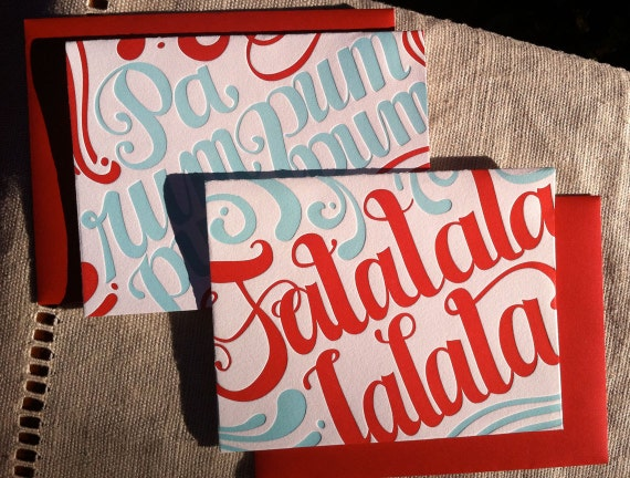2 pack Variety Letterpress Holiday Cards (red and light blue) - Falalalala & Parumpumpumpum