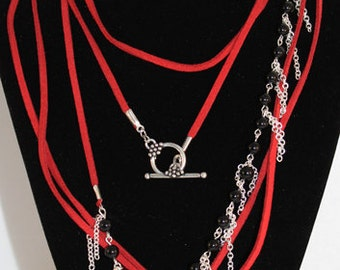 Boho Necklace - Wrap - Red Suede Cord, Black Obsidian Beads, Silver Plated Chain Fringe, Leather Necklace or Belt