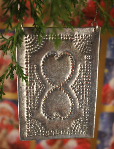 Rustic Punched Tin Ornament Primitive Tin Punch Hearts