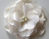 SALE - Ivory flower made with eco-friendly fabric and pearls