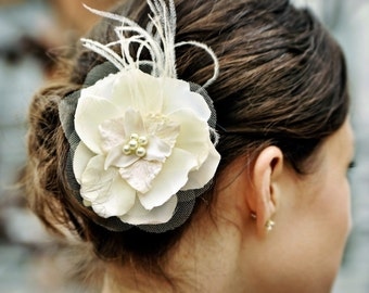 Custom ivory or white bridal flower with feathers and pearls - BELMONT no.38