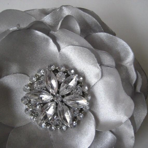 LAST ONE Silver flower hair clip with rhinestones - ADDISON no.55