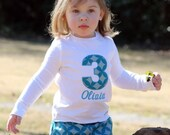 Personalized Birthday Girl Shirt with Number Applique- You pick the fabric