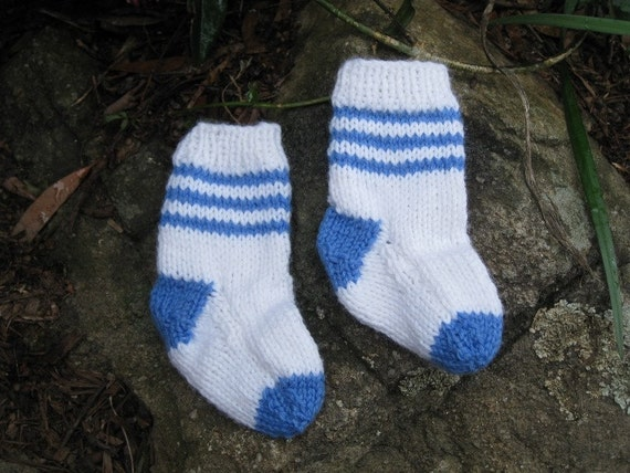 Handmade Handknitted Baby Boy Socks Shoes Booties Wool  - 3 months children's clothing by craftycrackpot on etsy