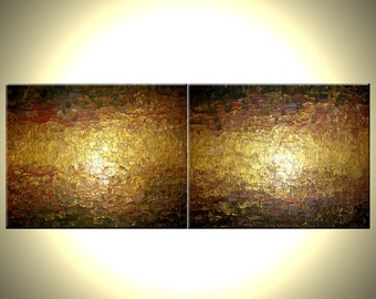 """Large Painting, Huge Abstract Gold Painting, Palette Knife Art, ORIGINAL Bronze Metallic, Textured Bronze Wall Art by Lafferty 2'x6' 24x72"""""""