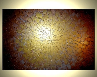 Abstract Gold Original Metallic Textured Painting by Lafferty - 24 X 36 - ONE DAY Sale Sale 22% Off