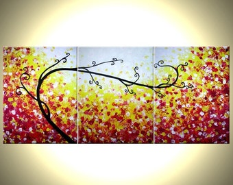 Abstract Tree Original Red Landscape Painting by Dan Lafferty - 24 X 54 - ONE DAY Sale 22% Off