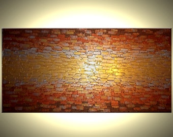 ORIGINAL Gold Painting, Abstract Palette Knife Art, Contemporary Impasto, Metallic Texture Art Lafferty - 48x24, Sale 22% Off