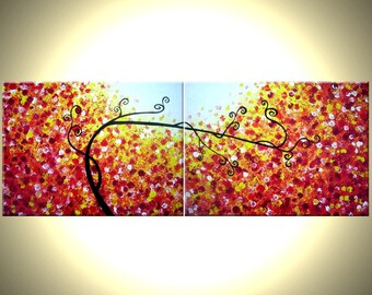 Original Abstract Large Painting, Contemporary Fine Art, Modern Acrylic RED Yellow Tree Landscape By Lafferty - 18x48 - Get it FREE
