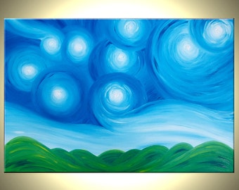 Original Acrylic Art, Blue Green Painting, Modern Abstract Landscape, Textured Starry Night, Impressionist Stars, by Lafferty - 36X24