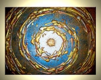 Art Painting, ORIGINAL Painting, Acrylic Abstract Painting, Metallic Gold Painting, Large Wall Art, Blue Star Home Decor By Lafferty - 24x30