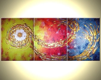 """Abstract Art, Large Gold Original Painting, Bronze Copper Textures, Shooting Star, Cosmic Modern Fine Wall Art Painting by Lafferty - 24x54"""""""