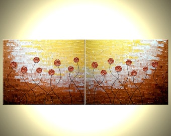 Original Flowers Abstract Painting, Impasto Gold Red Roses Poppies, Textured Palette Knife Art by Lafferty - 24X60