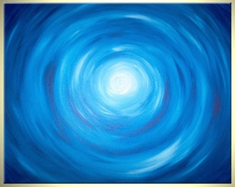 Acrylic Abstract Blue Painting, Blue White Raindrops, Original Art By Lafferty - 30x24 Sale 22% Off