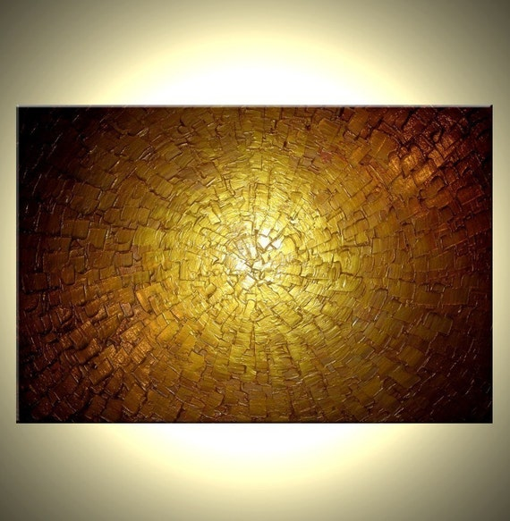 Abstract Gold Original Metallic Textured Painting by Lafferty - 24 X 36 - ONE DAY SALE