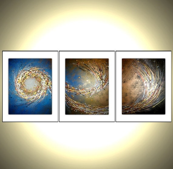 Holiday Sale - 3 8x10 PRINTS With MATTES of Original Modern Abstract Gold Blue Metallic Painting By Dan Lafferty - Night Star