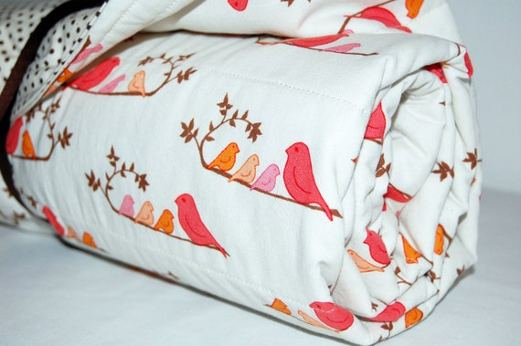 modern polka dot and birdie baby quilt- ready to ship