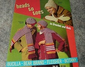 1970--HEADS To TOES--Crochet And Knitting Pattern Book--Bucilla-Bear Brand--Fleisher--Botany--Volume 61