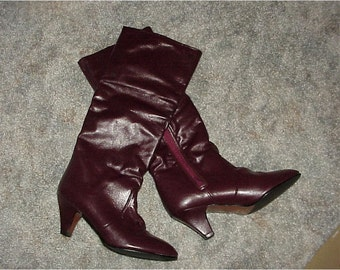 Vintage--Joyce Of California--Leather BOOTS--Wine--Size 7 Medium--Burgundy