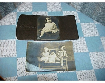 Antique Photos of Children--Little Girl Alone And Three Children On Bench--With Baby