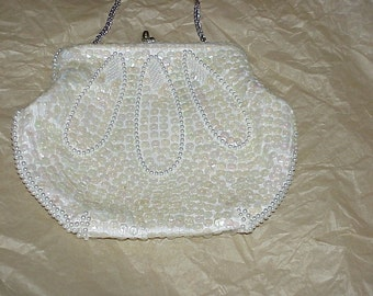 Vintage--Off White--Sequined And Beaded--Pearls--Evening Bag--PURSE--Sequins