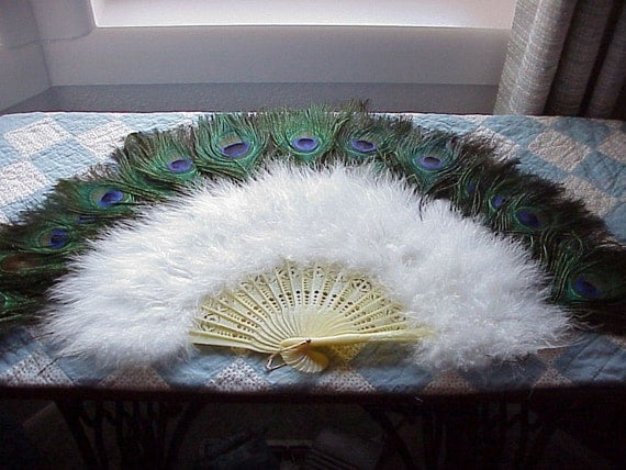 Vintage--Peacock And Ostrich Feather--FAN--Hand Held--BURLESQUE