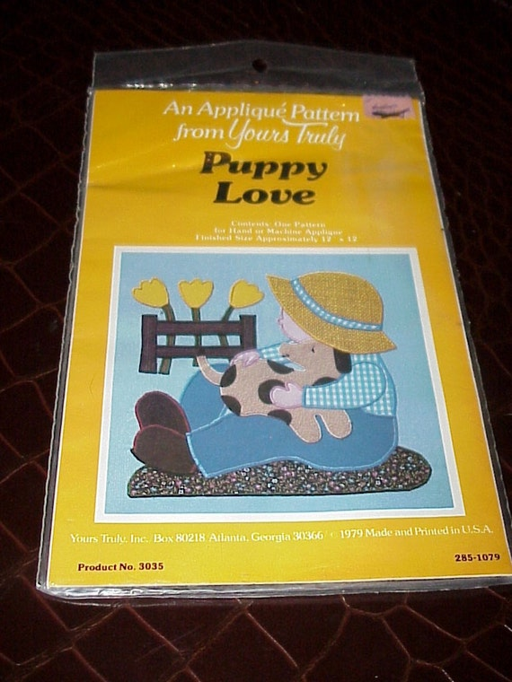 Vintage--1970's--Yours Truly--Applique Pattern--Puppy Love--Boy With Dog--UNUSED--Unopened--Quilting